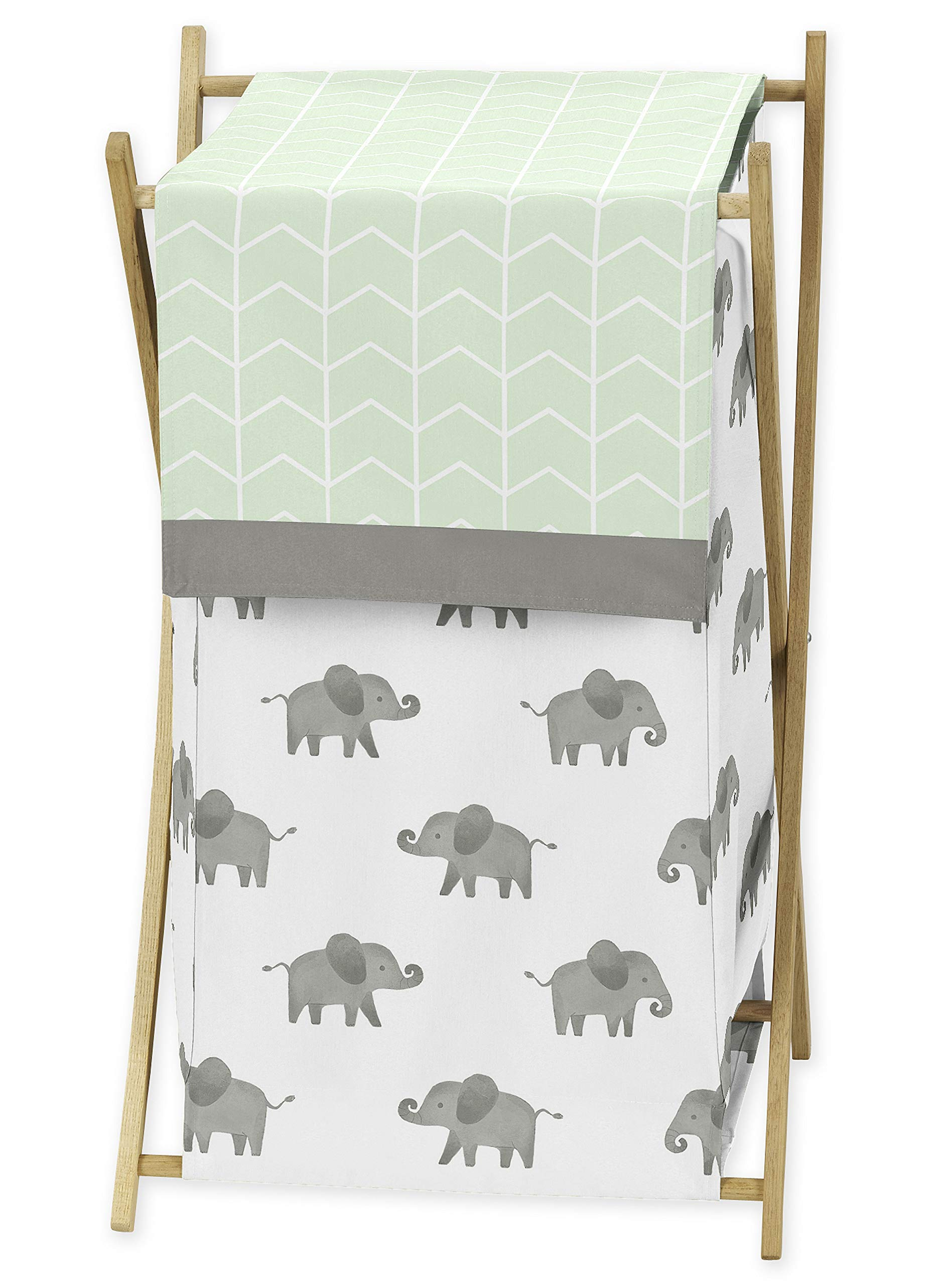 Sweet Jojo Designs Mint, Grey and White Baby Kid Clothes Laundry Hamper for Watercolor Elephant Safari Collection by Sweet Jojo Designs