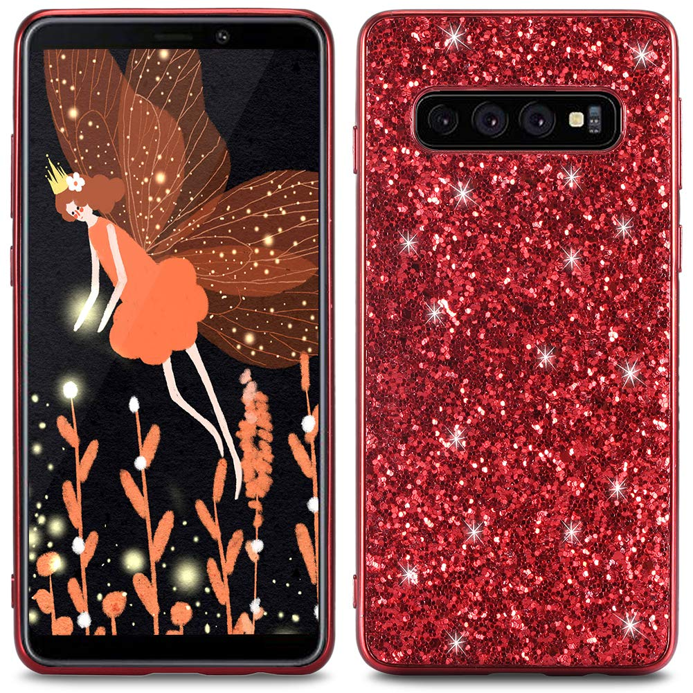 WIWJ Compatible with Samsung Galaxy S10+ Plus Glitter Case,Soft TPU Rubber Silicone Cover Slim Bling Sparkle Case for Girls Women Shockproof Protective Phone Case For Samsung Galaxy S10+ Plus-Silver
