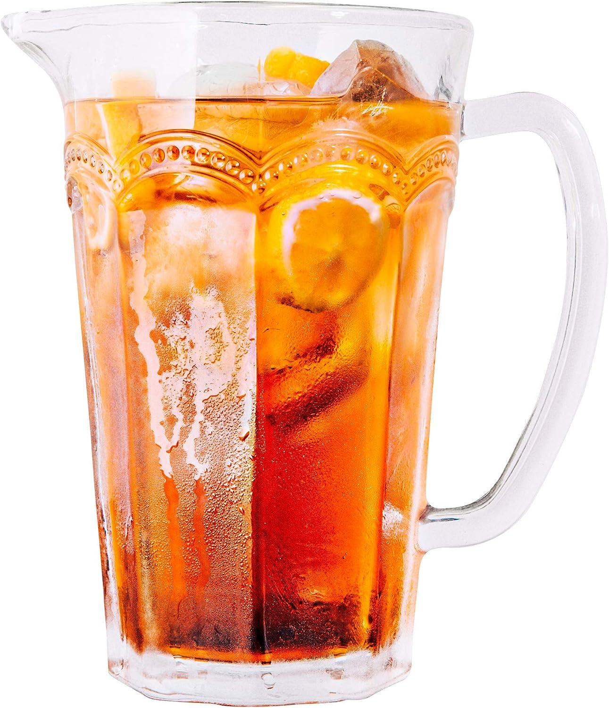DIKO Handmade Glass Beverage Water Pitcher (35.5-Ounce) with Handle &Spout, Gallon Tea, Ice Tea, Milk, Juice, Drink Pitcher, Tall Glass Carafe, RestaurantGlass Jug