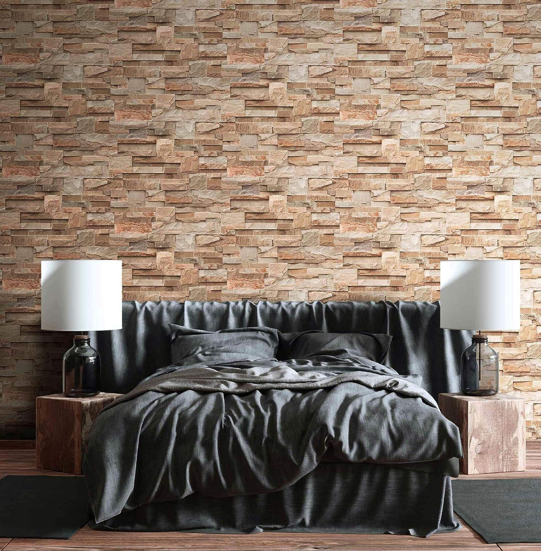 NEWROOM Papier peint pierres brique beige mur pierre moderne intiss/é Loft Industriel