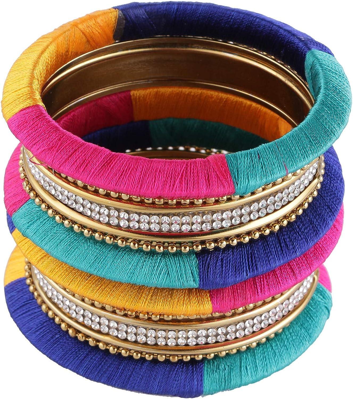 Efulgenz Fashion Jewelry Indian Bollywood Gold Plated Crystal Beaded Multicolor Silk Thread Bracelet Bangle Set