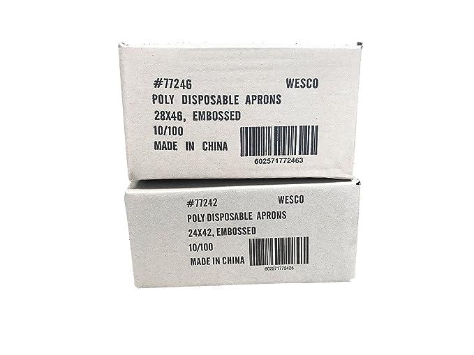 5 Disposable Apron Full Size Bib 24x42 White Poly QTY
