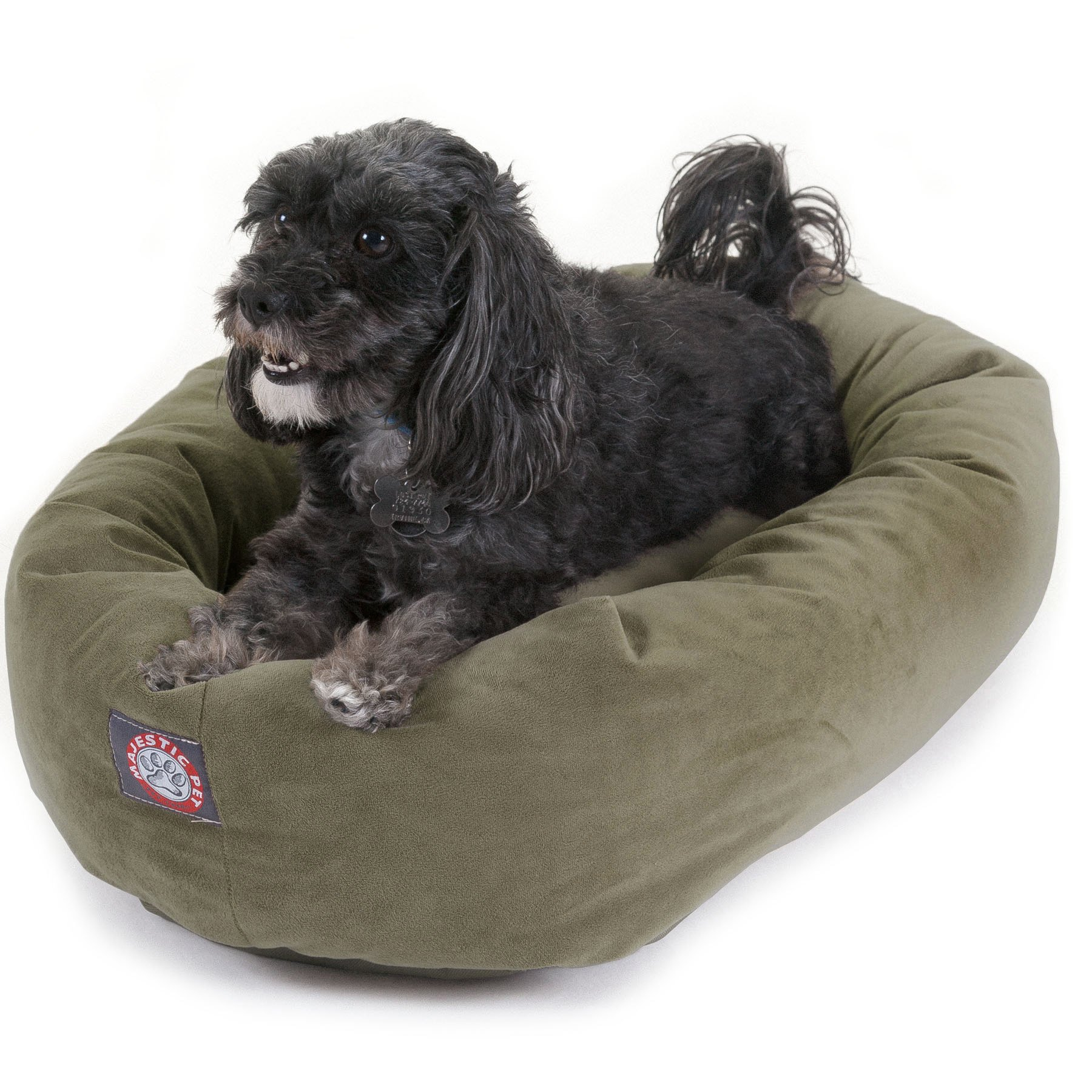 Majestic Pet 24 inch Sage Suede Bagel Dog Bed By Products