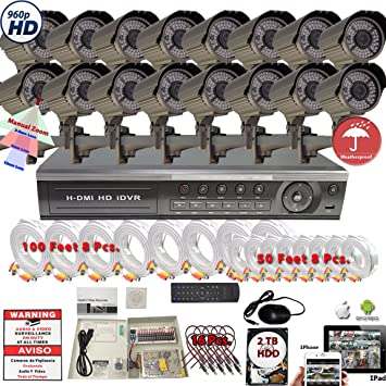Evertech 32 Channel HD H.264 DVR 16x HD 2.8-12mm Manual Zoom Indoor