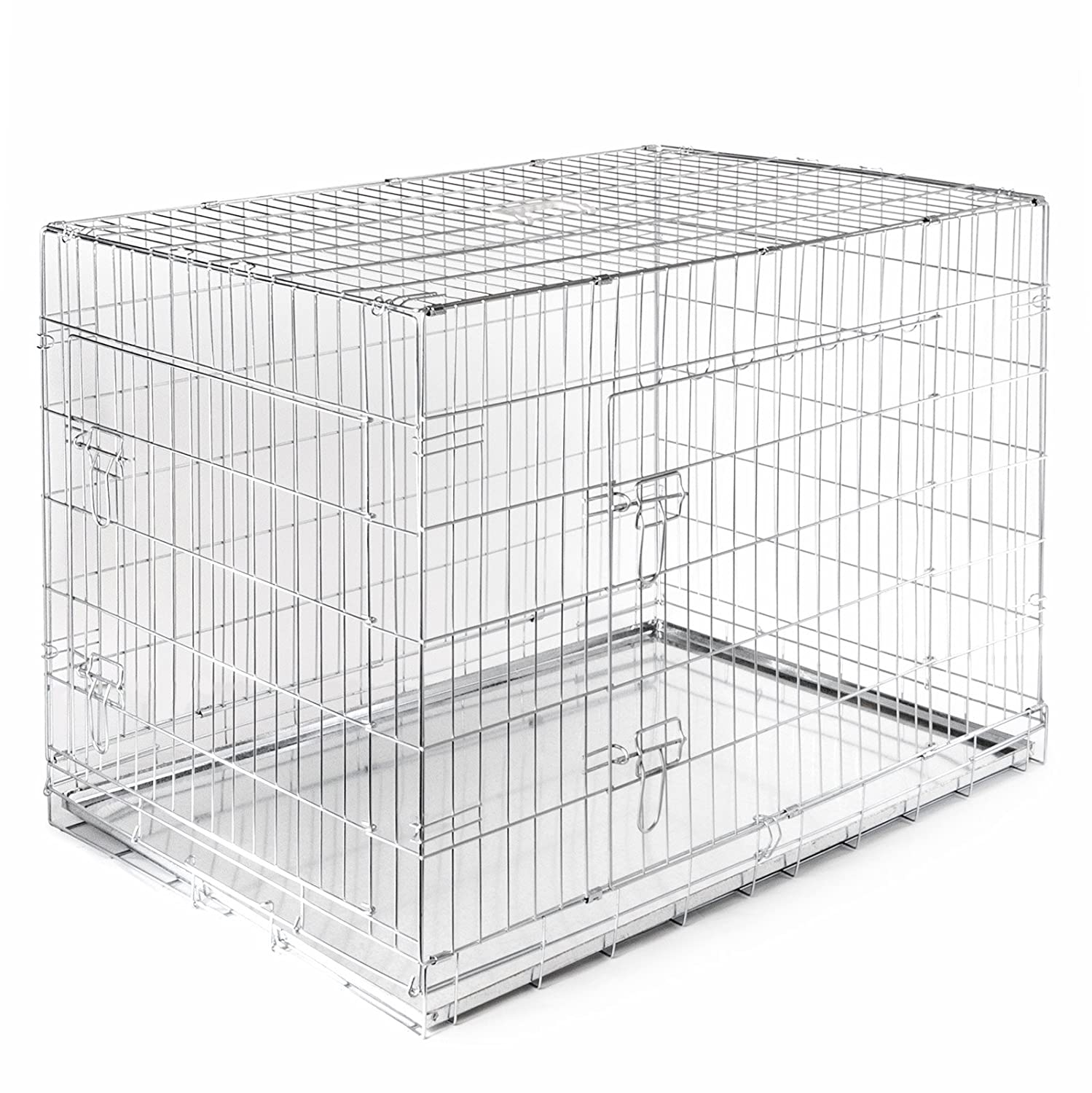 amazoncom  smithbuilt folding double door cage metal dog crate  - amazoncom  smithbuilt folding double door cage metal dog crate  inlong  pet supplies