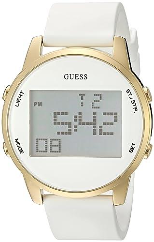 Guess u0815l1 Tono Dorado de Las Mujeres multifunción Reloj Digital de Correa de Silicona Color Blanco: Amazon.es: Relojes