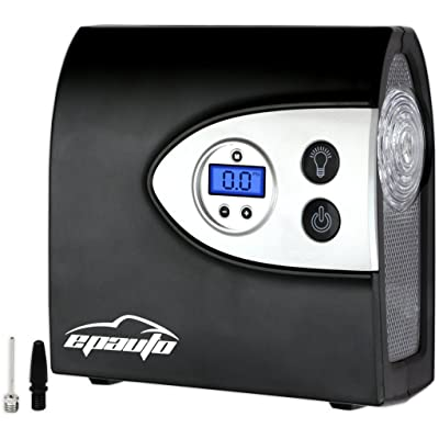 EPAuto 12V DC Auto Portable Air Compressor Pump w/Digital Tire Inflator and Preset Pressure Shut Off Gauge for Compact/Midsize Sedan SUV: Automotive