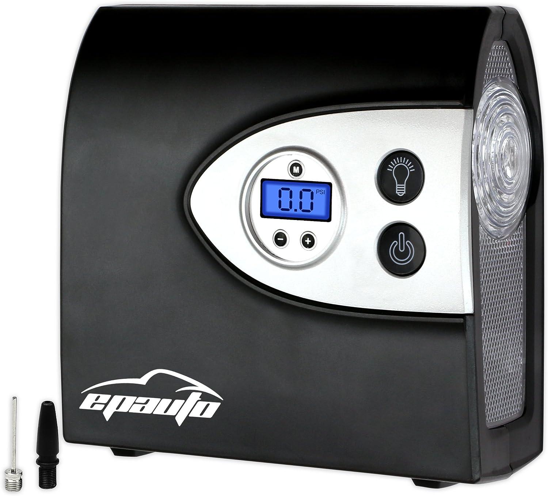 EPAuto 12V DC Auto Portable Air Compressor Pump w/Digital Tire Inflator and Preset Pressure Shut Off Gauge for Compact/Midsize Sedan SUV