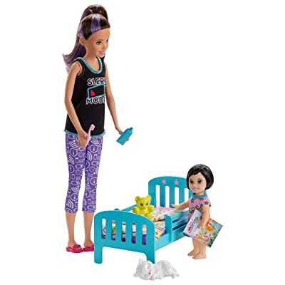 Barbie Skipper Babysitters Inc. Bedtime Playset with Skipper Doll, Toddler Doll and More, Multi: Toys & Games