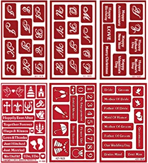 6 Armour Etch Over N Over Reusable Glass Etching Stencils Set | Wedding, Valentines Day