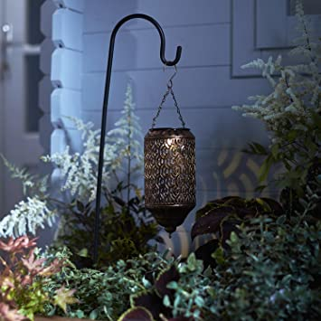 Solar Powered Moroccan LED Lantern Light With Shepherdu0027s Hook