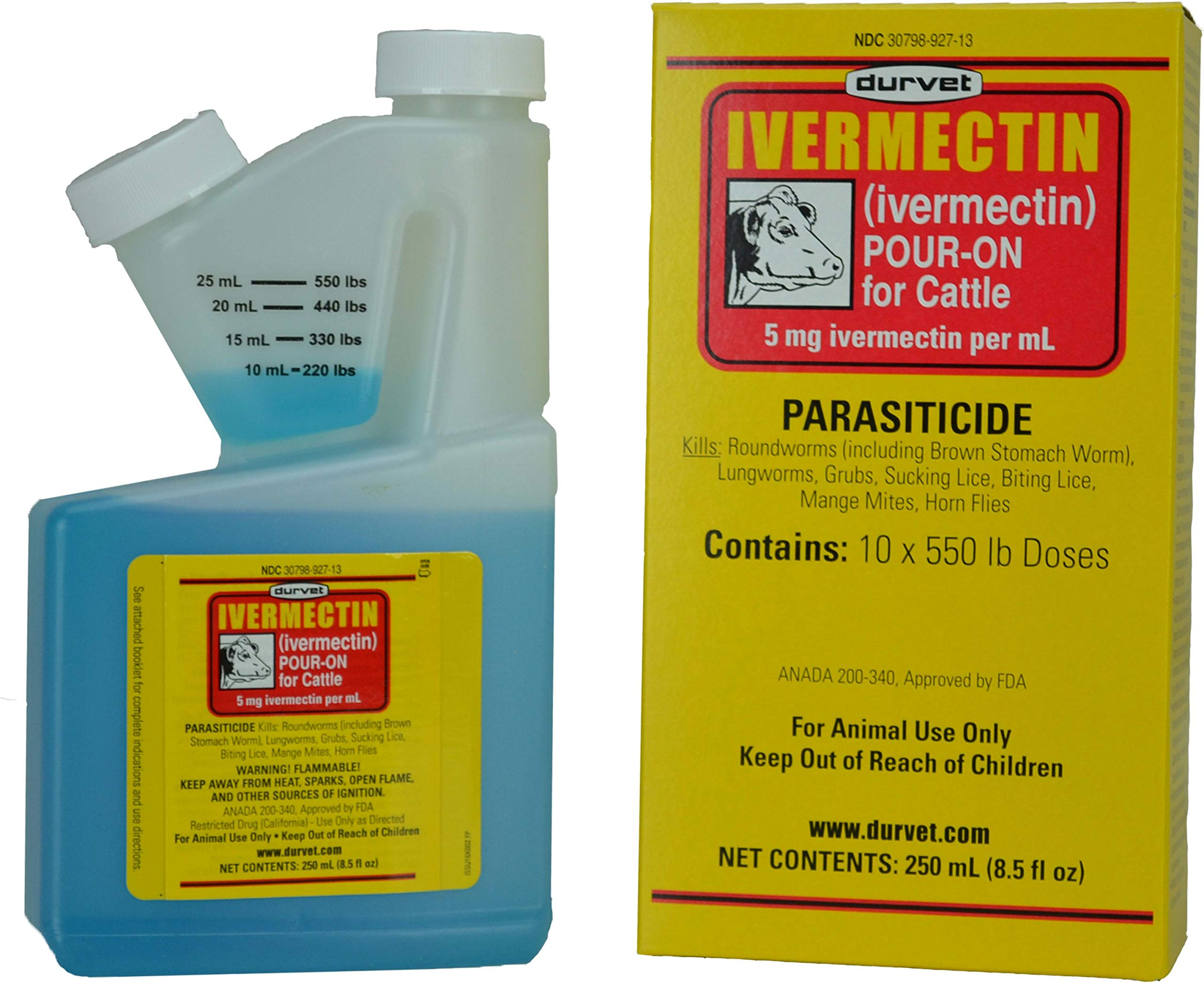 Durvet Ivermectin Pour On Dewormer 250mL