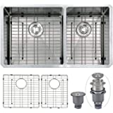 "Mowa HKN33DO Pro Series R10 Tight Radius Handmade 33"" 16 Gauge Stainless Steel Undermount 60/40 Offset Double Bowl Modern Kitchen Sink"