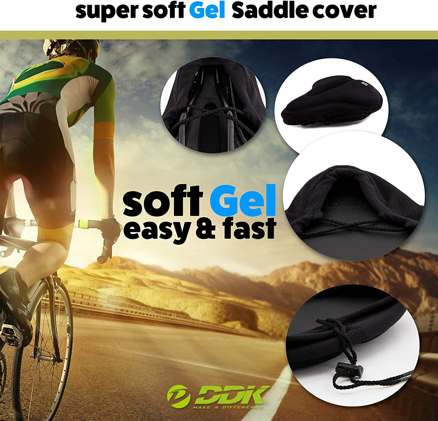 DDK Bicycle Saddle Extra Comfort Gel Cover Lycra Fabric