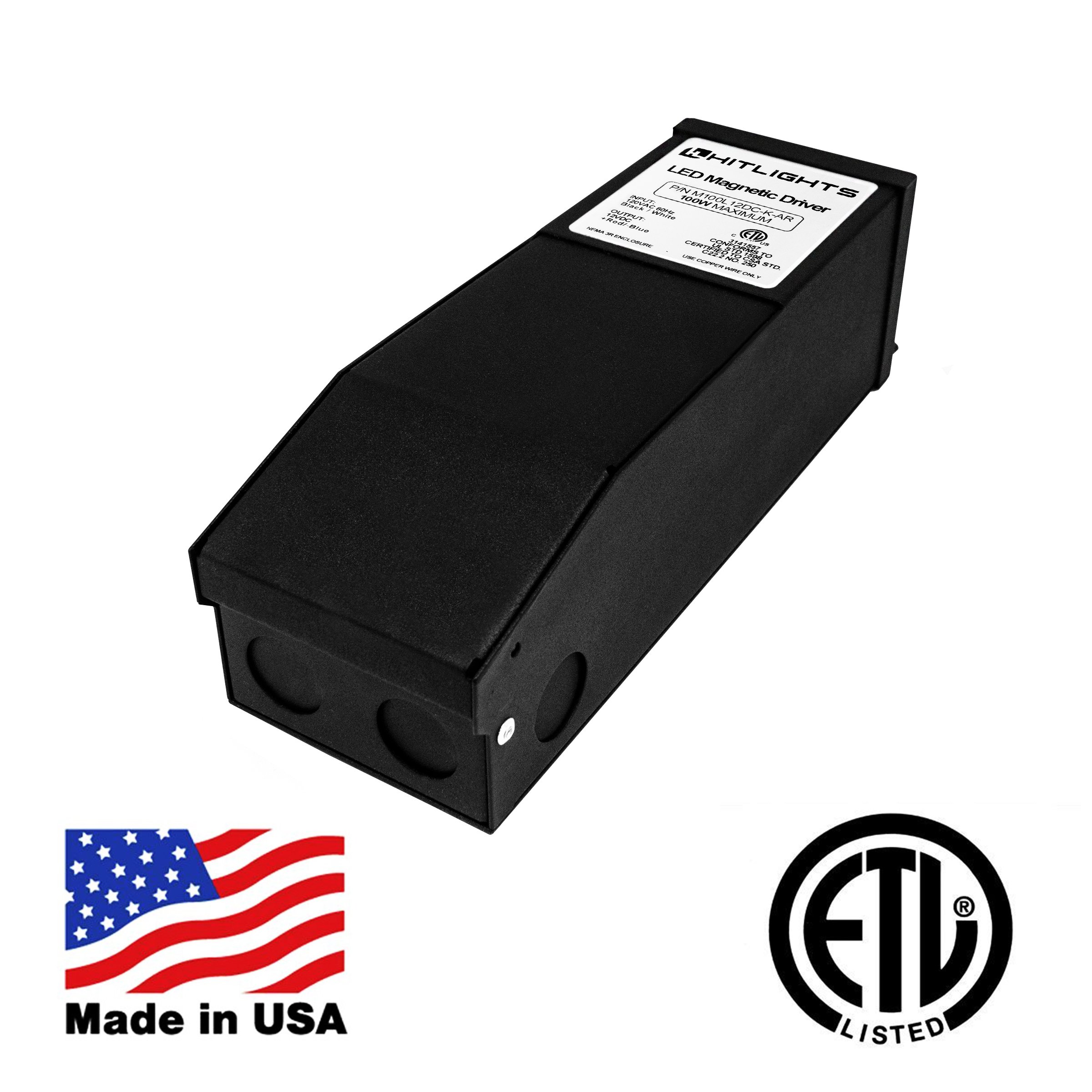 HitLights 100 Watt Dimmable Driver, Magnetic, for LED Light Strips - 110V AC-12V DC Transformer. Made in the USA. Compatible with Lutron and Leviton