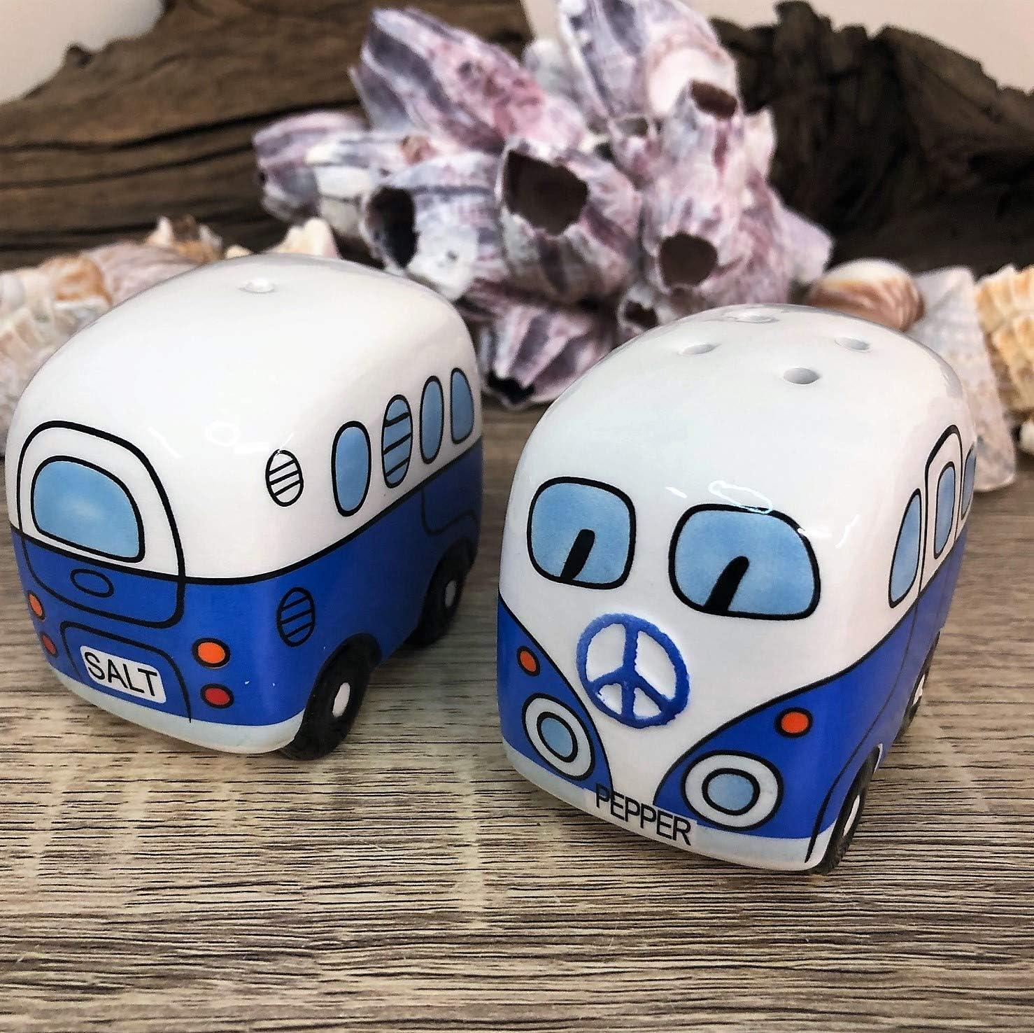 Juego de salero y pimentero para caravana azul
