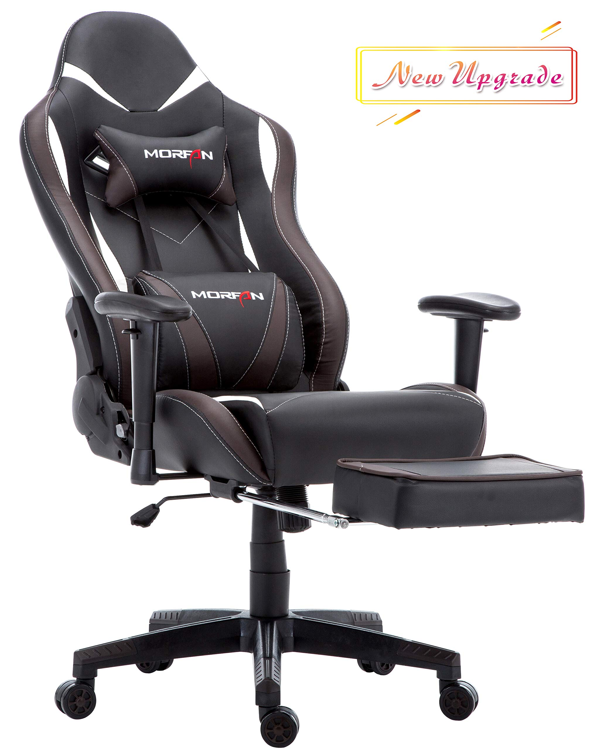 Morfan Gaming Chair Large Size Massage Function Ergonomic Racing Style PC Computer Office Chair with Retractable Footrest & Adjustable Lumbar and Headrest Pillows (Black/Brown) by MORFAN (Image #1)