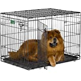 "MidWest 22"" iCrate Folding Metal Dog Crate w/ Divider Panel, Floor Protecting ""Roller"" Feet & Leak-Proof Plastic Tray; 22L x 13W x 16H inches, XS Dog Breed"
