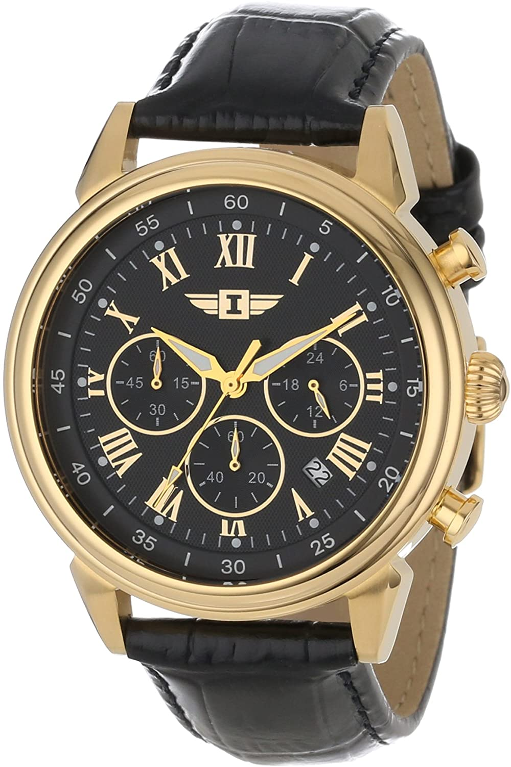 Invicta Men's 90242-003 Invicta I 18k Gold-Plated Stainless Steel Watch with Black Leather Band