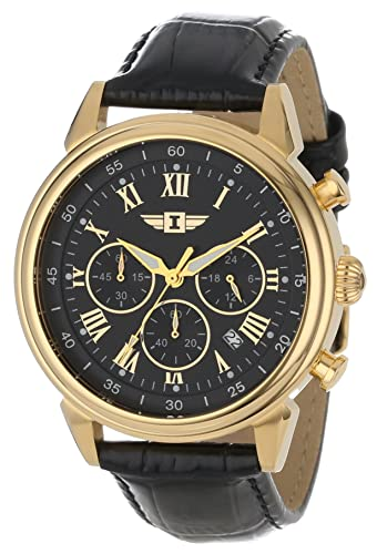 Invicta Men s 90242-003 Invicta I 18k Gold-Plated Stainless Steel Watch with Black Leather Band