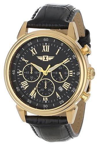 Invicta 90242 - 003 Invicta I 18 K chapado en oro acero inoxidable reloj con banda de cuero negro: Amazon.es: Relojes