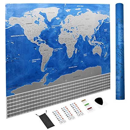 Amazon cnsunway lighting scratch off the world map 32x23 cnsunway lighting scratch off the world map32x23 inches blue travel scratch map poster gumiabroncs Images