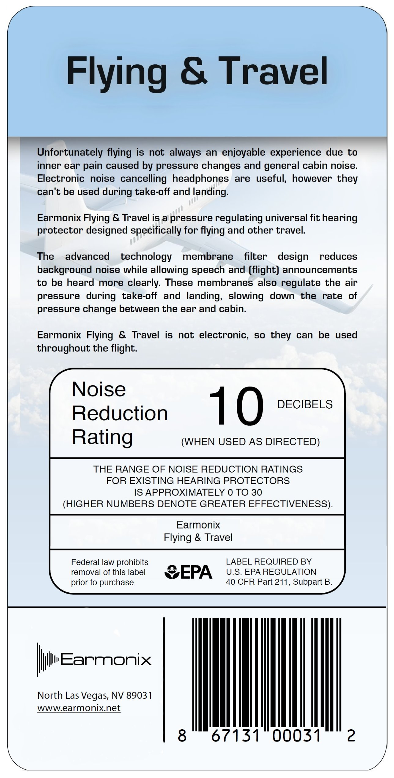 Earmonix Flying & Travel Ear Plugs – Noise Reduction Earplugs for Airplanes, Buses, Driving – Reduces Air Pressure Changes, Road and Background Noise - Reusable Easy to Clean and Carry by Earmonix (Image #3)