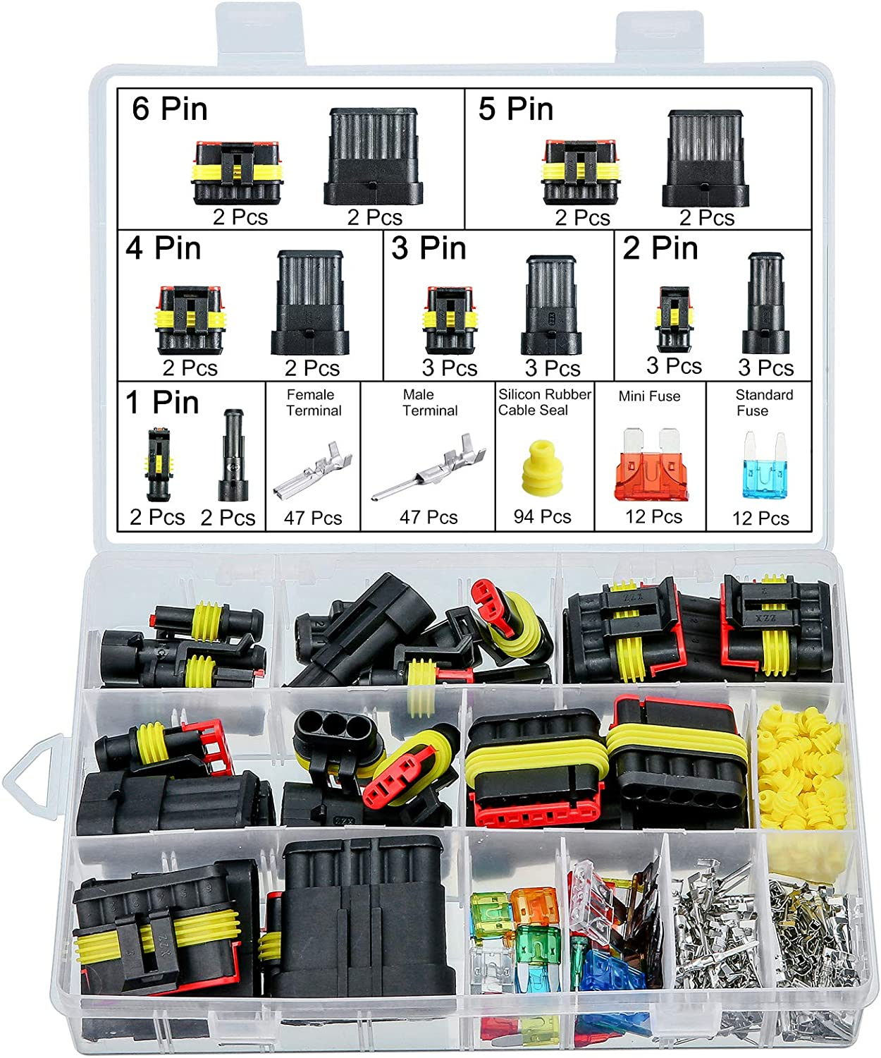 MGGi 240Pcs Waterproof Car Motorcycle Auto Electrical Wire Connector Plug Kit Terminal Assortment 1 2 3 4 5 6 Pin Way with 5-30 Blade Fuses Assortment Kit for Car Truck Boat Motorcycle