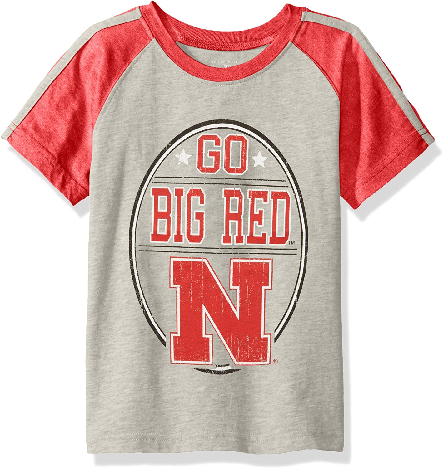 NCAA Boys Raglan Short Sleeve Stripe Tee,Nebraska Cornhuskers,Red,M