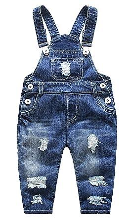 Feoya Junge Mädchen Baby Overall Kinderlatzhose Denim Loch Jeans