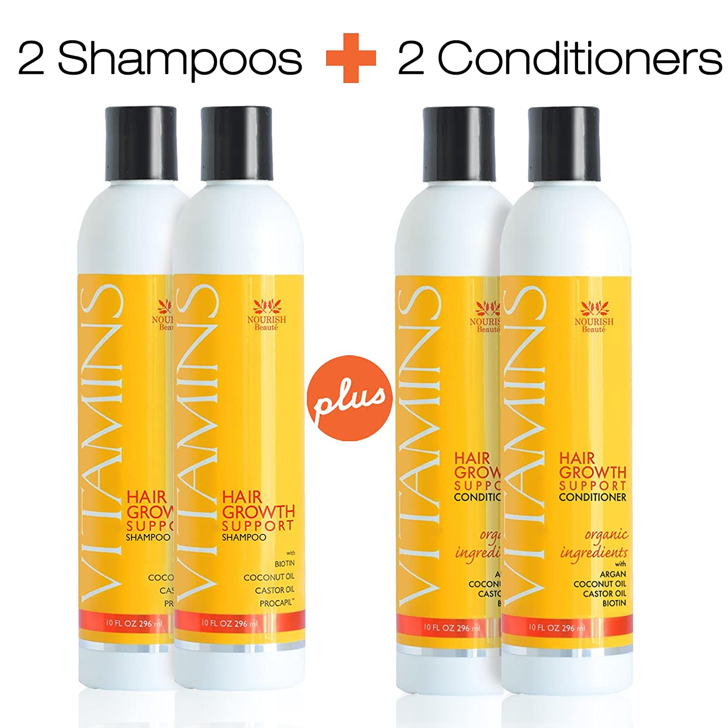 SAVE ON 4 Bottles - Premium Hair Loss Shampoo & Conditioner Set- Organic DHT Blocker - GUARANTEED to Promote Growth and Reduce Thinning w/Argan Oil, Biotin and More - 4 Month Supply Nourish Beaute