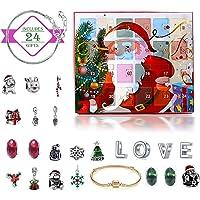 Monuary Calendario de Adviento Navidad, Calendario Navideño con 24 Días Sorpresa Bricolaje Charms Pulsera Joyas…