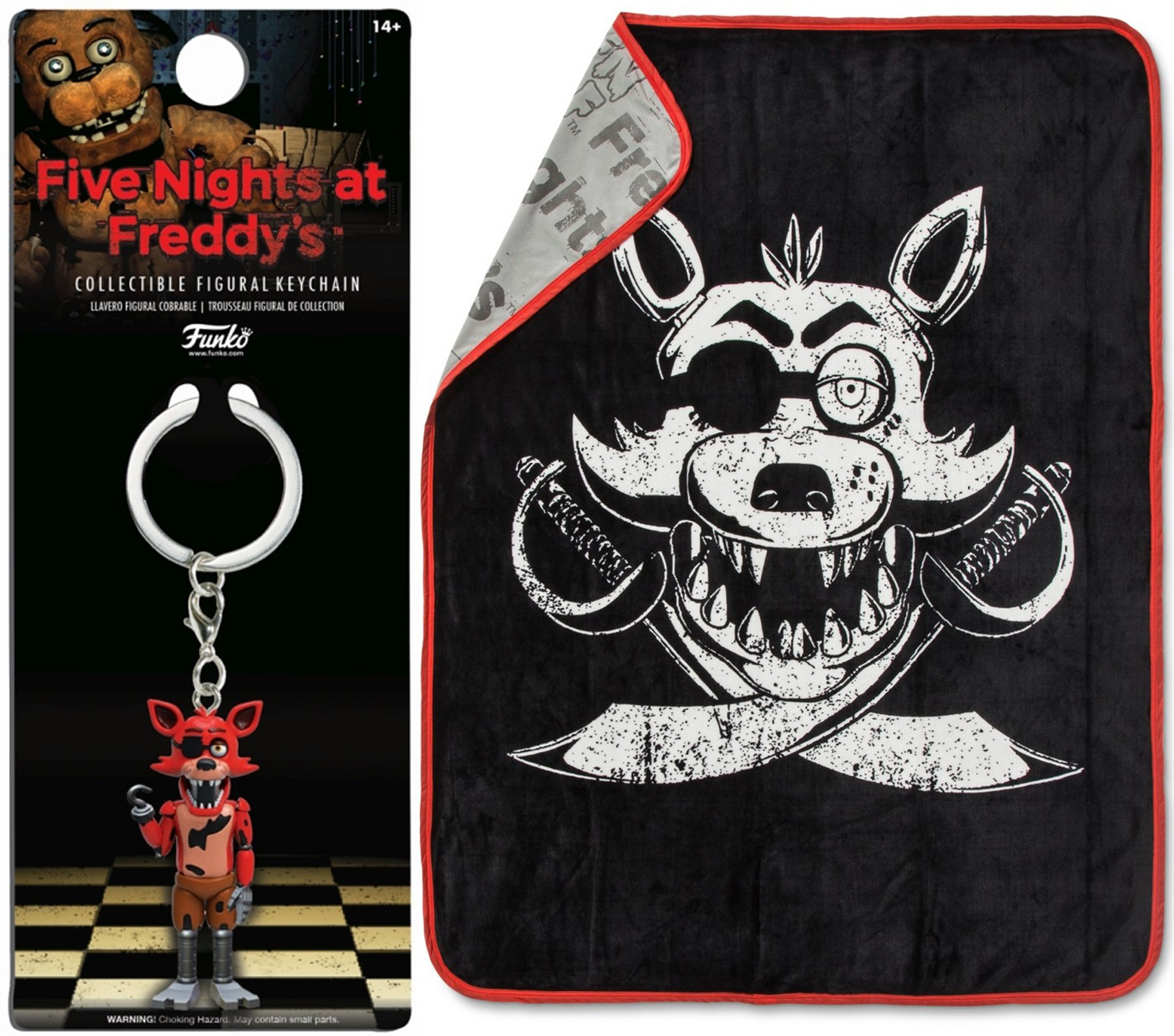 AYB Game Plush Throw Blanket Foxy Pirate design + Figural Keychain Five Nights at Freddy's Bundle