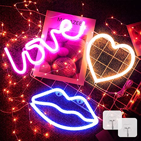 Wall Art 2 Pieces Valentines Day Neon Sign LED Neon Lights Wedding Decoration Bedroom Red Lip and Love Heart Shaped Wall Sign Decor with Light USB or Battery Powered Decorative Lights for Party