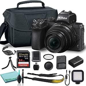Nikon Z50 Mirrorless Digital Camera with 16-50mm Lens (1633) USA Model + Camera Bag + 46mm UV Filter + SanDisk 64GB Extreme PRO Memory Card + Hand Strap + Portable LED Video Light + More