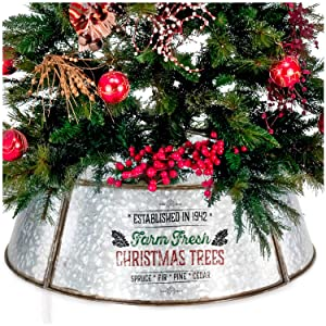 """KIBAGA Farmhouse Christmas Tree Collar - Authentic Easy Set Up 30"""" Tree Ring/Tree Skirt Decorates Your Home for The Holidays"""