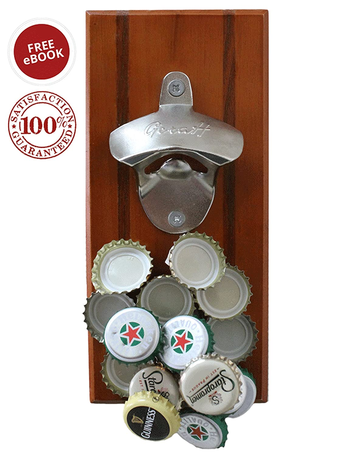 Magnetic wall mounted beverage bottle opener with cap catcher for no mess ebay - Bottle opener wall mount magnet ...