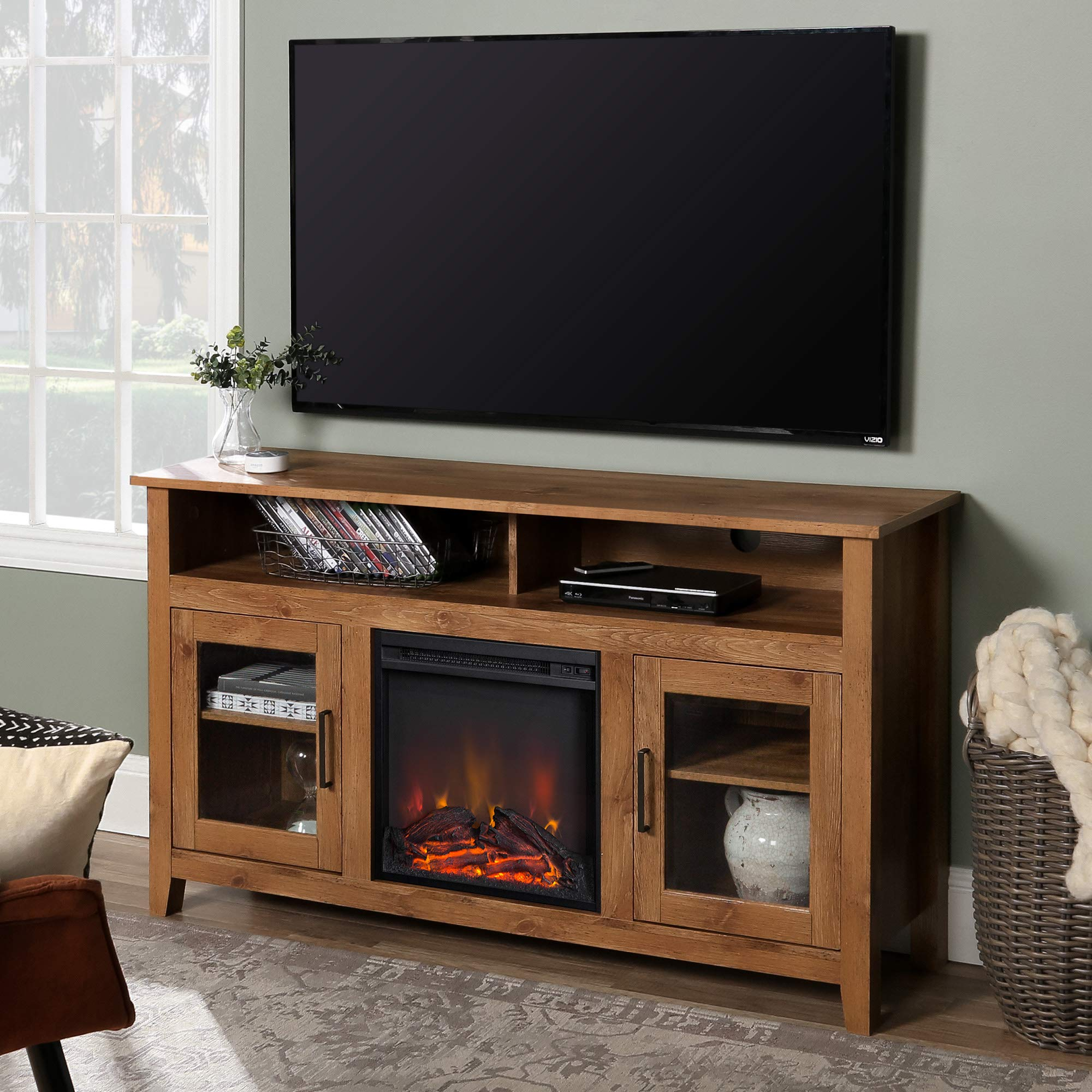WE Furniture AZ58FP18HBBW Tall Rustic Wood Fireplace Stand for TV's up to 64'' Living Room Storage, Barnwood by WE Furniture