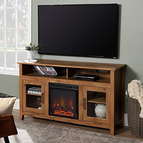 WE Furniture Tall Rustic Wood Fireplace Stand for TV s up to 64 Living Room Storage, Barnwood Brown