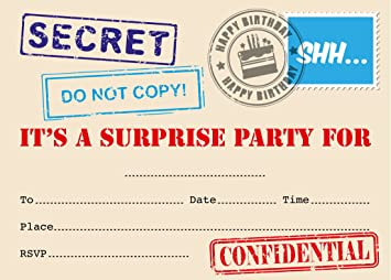 Surprise Party Invitation Top Secret Stamp Designs Packs Of 16 With Envelopes
