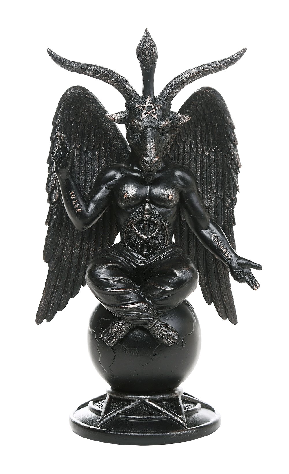Baphomet Horned Sabbatic Goat Solve et Coagula Statue 10 Inch Tall by Pacific Giftware