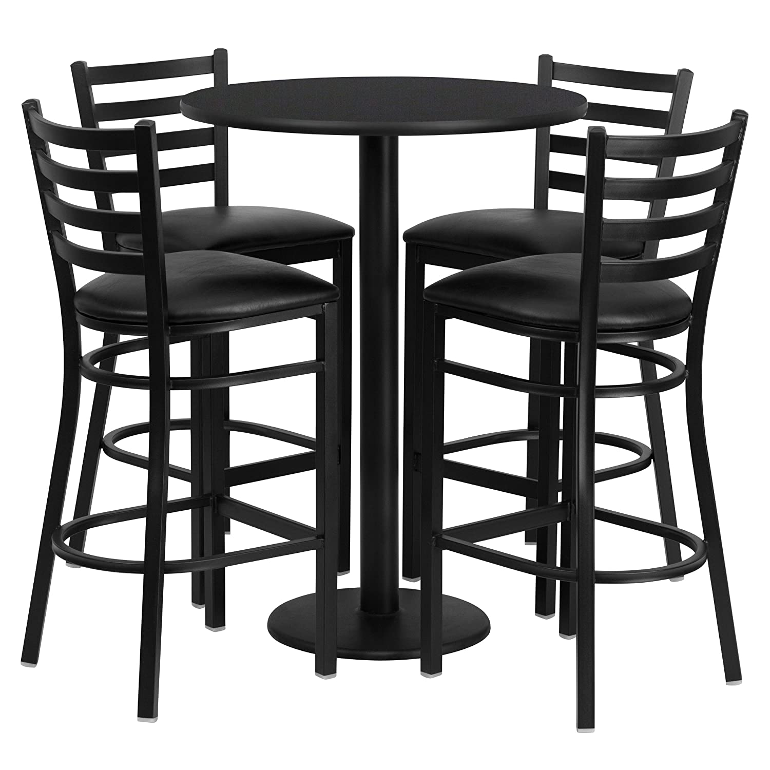 amazoncom flash furniture round black laminate table set with 4 ladder back metal barstools black vinyl seat kitchen u0026 dining