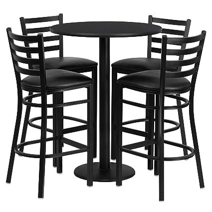 Amazoncom Flash Furniture 30 Round Black Laminate Table Set
