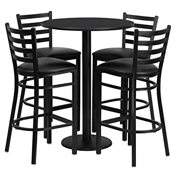Lovely Flash Furniture 30u0027u0027 Round Black Laminate Table Set With 4 Ladder Back  Metal Barstools