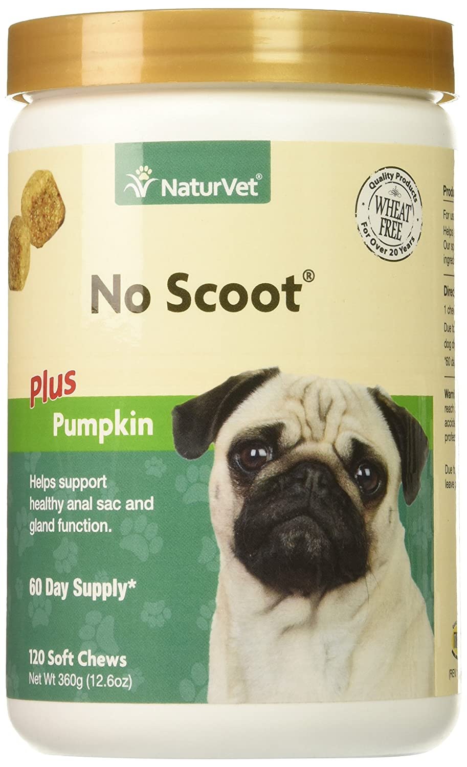 NaturVet No Scoot Plus Pumpkin Soft Chew Support Healthy Bowels for Dogs 120 CT 797801037051