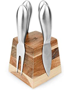 Slice of Goodness Cheese Knife Set for Charcuterie - 4 Small Stainless Steel Cheese Knives and Fork with Magnetic Acacia Wood Holder - Modern Charcuterie Board Accessories