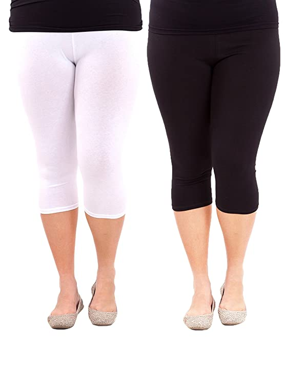6f522ed7679 American Trends Women s Plus Size Stretch Modal 3 4 Smooth Capri Leggings  (FBA) 2 Pack Black   White 3XL Plus at Amazon Women s Clothing store