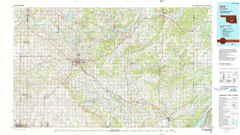 Amazon.com : YellowMaps Ada OK topo map, 1:100000 Scale, 30 ...