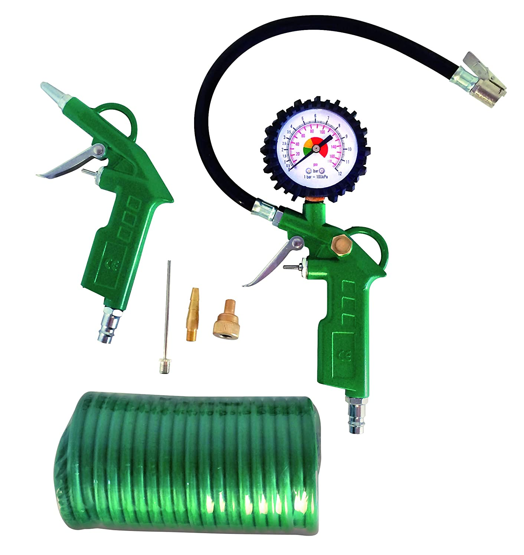 Cevik CA-CK220 - Kit aerográfico para compresor. 6 piezas: pistola de soplar, hinchador, espiral 5 mt. y 3 boquillas: Amazon.es: Bricolaje y herramientas