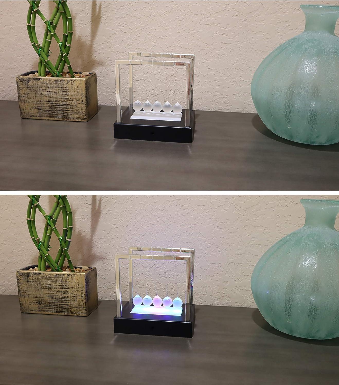 Glass Pendulum Balls with Light Up Base Aryellys Newtons Cradle Glass Balls and Light up Base Newton Cradle Perfect Desk Toys Physics Toys